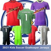키즈 축구 골키퍼 저지 # 1 Schmeichel 축구 구 jerseys 2021 20 Leicester Soccers 어린이 태국 키트 세트 유니폼