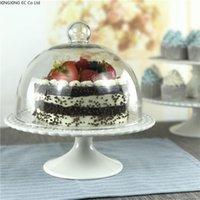 ヨーロッパスタイルのセラミックの背の高いケーキのトレイの午後のティーシェルフフルーツプレートガラスのふたのデザートスタンド結婚式の皿の皿の皿