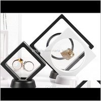 Packaging Jewelry Drop Delivery 2021 Black White Suspended Floating Display Case Jewellery Bracelet Ring Coins Gems Artefacts Stand Holder Bo