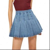 Denim Mini High Waist Women Skirts Pleated Elegant Fashion Streetwear Party Club Girl Clothes