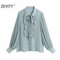 ZEVITY Yeni Kadın Moda Pileli Fener Kol Katı Şifon Bluz Chic Ofis Bayan Ruffles Gömlek Femininas Blusas Tops LS72851
