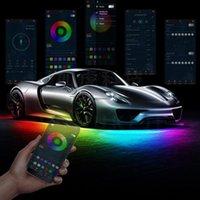 Interior&External Lights Universal 4PCS 12V IP65 App Control Flowing Color RGB LED Strip Under Car 50 100 150 Tube Underglow Underbody Syste
