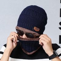Winter Beanie Scarf 2 in 1 set Parent-child family warm fleece Soft Skull Cap Mask earflaps Hats Unisex Knitted outdoor Hat DWB11092