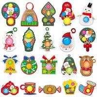 Christmas Pattern Keychain Toys Finger Bubble Music Push Fidget Sensory Toy Cartoon Panda Frog Animal Handle Decompression