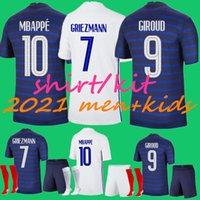 남자 + 아이들 2021 프랑스 그레이즈 만 MBappe 축구 저지 키트 정장 칸테 20 21 Pogba 셔츠 Maillot de Football Zidane Giroud Matuidi Kimpembe Ndombele Thauvin 유니폼