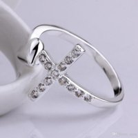 2021 Woman Midi Rings Exquisite Silver Cross Zircon ring Love Ring wedding ring Fashion Silver Jewelry Adjustable Jewelry women