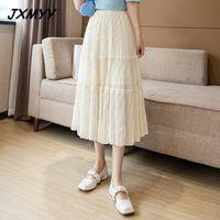 Gonna bianca femminile di primavera ed estate Stile giapponese Stile Giapponese Draped Autumn Autunno Torta pieghettata Gonne JXMYY