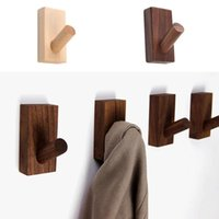 Hooks & Rails Natural Wood Clothes Hanger Wall Mounted Coat Hook Decorative Key Holder Hat Scarf Handbag Hangers Bathroom Room Rack
