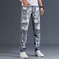 2021 Mens Designer Jeans Distressed Ripped Biker Slim Fit Motorcycle Denim For Men s Fashion Mans Black Pants 20ss pour hommes