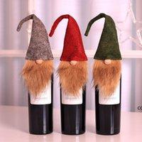 크리스마스 루돌프 인형 와인 병 커버 세트 사랑스러운 레드 와인 케이스 크리스마스 테이블 장식 DHB8653