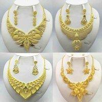 Earrings & Necklace 3Pcs Luxury Dubai Women Gold Color Jewelry Sets African Wedding Bridal Ornament GiftsSaudi Arab Bracelet Ring