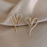Adjustable Love Heart Earrings Female 925 Silver Stud Earrings 2021 New Trendy Graceful Online Influencer High Sense Ear Rings