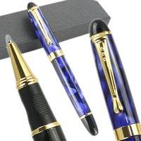 Jinhao X450 جودة عالية الأزرق والذهب 22 أنماط الأسطوانة القلم الكامل المعادن الفاخرة الأقلام caneta القرطاسية مكتب اللوازم المدرسية حبر جاف