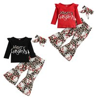 kids Clothing Sets girls Christmas outfits Children Flying sleeve letter Tops+Santa Claus Leopard print Flared pants+Bow 3pcs set Spring Autumn baby Xmas Clothes