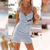 Simple sexy sem mangas spaghetti strap lace up vestido elegante mulheres curtas vestido senhoras verão férias bohemian vestido novo 210413