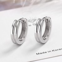 Hoop & Huggie Trendy 925 Silver Earrings For Women Girl Simple Small Double Layer Round Circle Earring Fashion Birthday Party Jewelry