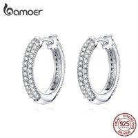 bamoer Ear Hoops 925 Sterling Silver Luxury Hoop Earrings for Women Wedding Engagement Jewelry Gifts Accessories 2019 BSE300 210423