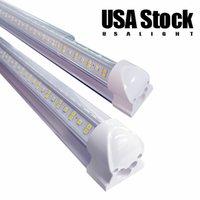 الخامس على شكل t8 أضواء أنبوب led 4ft 35 واط 5ft 45 واط 6ft 56 واط 8ft 72 واط 2.4 متر مدمجة تبريد الباب الفلورسنت المزدوج الإضاءة AC85-265V 15000lm الولايات المتحدة الأمريكية الأسهم usalight