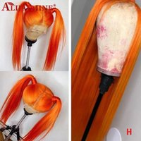 Ginger Orange Wigs For Black Women Peruvian Remy Long Straight Colored Short Bob Lace Front Human Hair Wig Bleached Knots1
