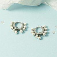 Hoop & Huggie KOFSAC Fashion 2021 Chic Pearl Geometric Fan Shaped Elegant Earrings For Women Girls Silver Color Jewelry Party Accessories