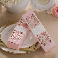 Greeting Cards 50pcs Pink Scroll Laser Cut Box Packed Wedding Invitation With Butterfly Knot Customizable Decoration Supplies