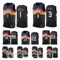 Phoenixsunmen Devin 1 Booker Chris Paul Deandre Ayton Jae Crowder 2020-21 Black City Basketball Jersey Nuevo uniforme