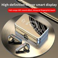 Auriculares inalámbricos TWS Bluetooth auriculares 5.1 Auriculares Estéreo Deportes Auriculares impermeables 2000MAH Caja de carga con espejo MIC