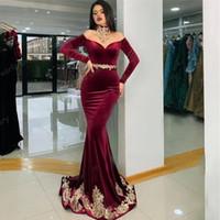 Burgundy Evening Dresses Formal Off Shoulder Dubai Saudi Arabic Velvet Long Sleeve Mermaid Prom Gowns 2021 Robes