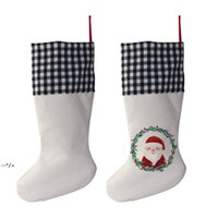 Sublimation 4 Color Christmas Stocking Christmas Gift Bags Blank Black and White Grid Heat Transfer Candy Socks NHA9290