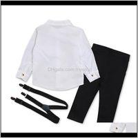 Rorychen otoño niños niños niños ropa traje camisa negra + monos 2pcs trajes conjuntos niño niño ropa lj200831 85 behou6