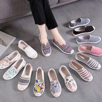 Alte Pekinger Tuch Schuhe Womens Single-Layer Schuhe Flache faule Fischer 2021 Neue koreanische stil weiße schuhe lässig leinwand