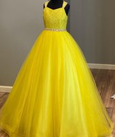 Little Miss Pageant Dress for Teens Juniors Toddlers 2021 Bright Yellow Beading Sequins Long Prom Gown Kids Formal Party Criss-Cross Back Order-to-Made rosie