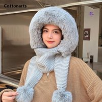 Beanies Winter Hat Thicken Pile Caps Warm Knitted Female Fur Pom Poms Solid Color Plush Pullover Cap Scarf Set Women's