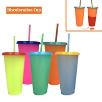 Creative 24oz Temperature Color changing Magic Reusable Magic Coffee Mug Plastic Drinking Tumblers with Lid and Straw 700ml mugs NHF6672