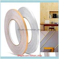 Stickers Décor & Garden50X0.05M Gap Sealing Tape Wall Floor Seam Sticker Waterproof Gold Sier Copper Foil Strip Home Decor Drop Delivery 202