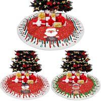 Décorations de Noël rond Santa Claus Snowman Print Noël Arbre de Noël Jupe Jupe de plancher Décor de tapis de plancher