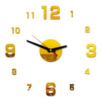 Wall Clocks 3D Acrylic Clock Mirror Surface Sticker Home Office Room Decoration Red, Black, Gold, Silver Top Selling 2021
