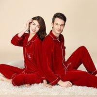 Sleepwear Fashion Pigiama Pajamas Couple Donne Veet Autunno e inverno manica lunga manica lunga coreana allentata da due pezzi vestito da uomo indossare 202