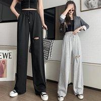 Pantalon de sport déchiré gris lâche haute taille haute drape printemps et style été mince décontracté JXMYY Femmes Capris