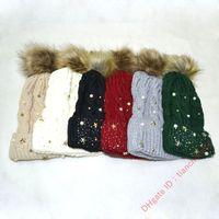 New autumn winter studded pearl five-point star rhinestone warmski gorros cap wool ball knitting hat lady