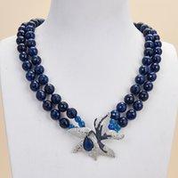 Guaiguai Ювелирные Изделия 2 Нитки Синий Агат Ожерелье CZ Цветочный кулон для женщин Реальные драгоценные камни Камень Модные ювелирные изделия