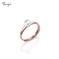 Thaya 100% S925 Sterling Silver Hand made Pearl Ring Rose Gold Plated 18k Elegant Ring For Women Fine Jewelry Fashion Gift 210506
