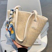 Shoulder Bags Fashion Armpit Bag Summer Beach Straw 2021 Women Woven Bucket Handbag Small Tote With Silk Scarf