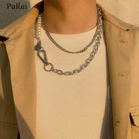 PuRui Asymmetry Pearl Chain with Coin Pendants Men Punk Layered Choker Necklaces Collar for Women Fashion Jewelry 2021