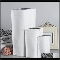 Gift Wrap Event Festive Party Supplies Home Garden Drop Delivery 2021 Stand Up White Kraft Paper Aluminum Foil Bag Zipper Doy Pack Packaging