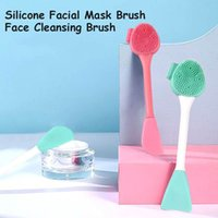 2 in 1 Silicone Face Mask Brush Double Head Masks Mud Cream Lotion Applicator Facial Cleansing Brushes Beauty Tool