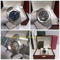 2 Färg Original Box 15500st Watch Mens Black Blue Dial Sapphire Glass Steel Armband Transparent Tillbaka U1 Fabrik Cal.3120 Rörelse Automatiska Klockor