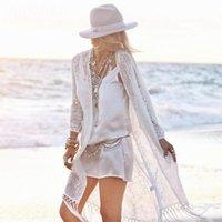 여성용 블라우스 셔츠 유행 섹시한 투명한 솔리드 컬러 여성 프린지 레이스 기모노 카디 건 화이트 Tassels 해변 케이프 탑스 커버