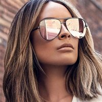 high qualityGun Pink Sunglasses Silver Mirror Metal Sun Glasses Brand Designer Pilot Sunglasses Women Men Shades Top Fashion Eyewear Lunette