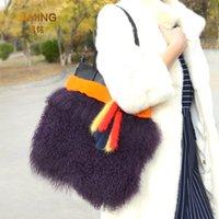 Evening Bags 100% Real Beach Wool Fur Bag Genuine Leather Women Autumn Winter Plush Purses Handbags Female Shoulder Wallet Woman Handbag